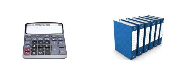 Máy  tính, biểu mẫu, sổ sách